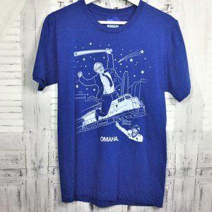 Omaha Warren Buffet UP Baseball Blue Tee Shirt S